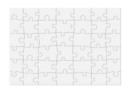 Jigsaw puzzle with blank white pieces and a modern feel, isolated on white background