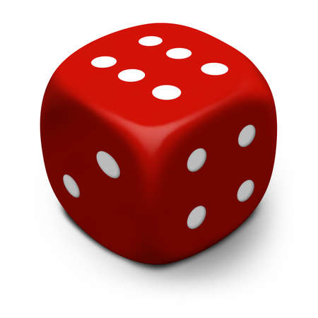 Modern 3D red dice/die that rolled a six, isolated on a white background with shadow.