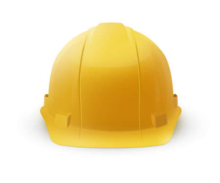 Yellow hard plastic helmet icon isolated on a white background. To represent safety or construction.