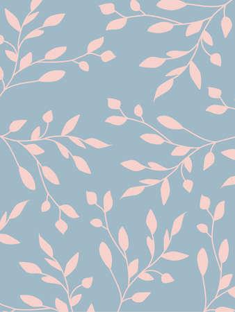 Illustration pour Elegant botanical background in pastel colors. Leaves and natural floral elements pink beige blue colors. Simple minimal style. Vector illustration. - image libre de droit