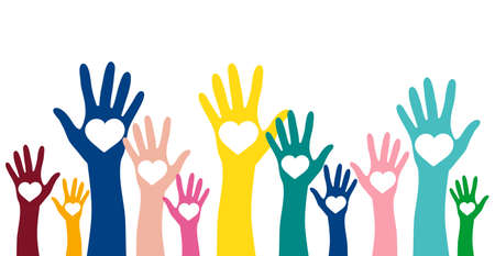 Illustration for Volunteering, charity and donating concept. Raised colorful hands with white heart vector design element - Royalty Free Image