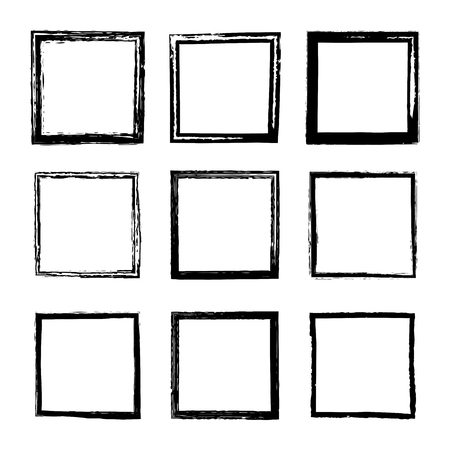 Illustration for Set of vector square frames and borders drawn by black ink brushes isolated on a white background. A collection of frames with rough grunge edges. Dirty distressed uneven silhouettes - Royalty Free Image