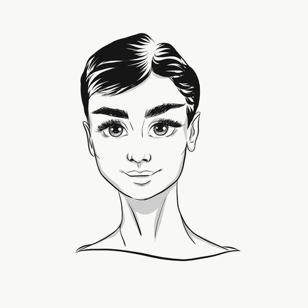 Vector Audrey Hepburn Cartoon Portrait Black And White Cute Face With Big Eyes For Fashion Print Poster Banner Icon Illustration Young Beautiful Girl Successful Woman Feminist Fashion Lady موقع تصميمي