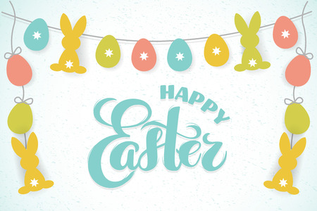 Vector paper Easter eggs and bunny garland with hand drawn text Happy Easter for greeting card, holiday poster, banner, invitation, Easter promo, spring event. Holiday Pascha, Resurrection Sunday.