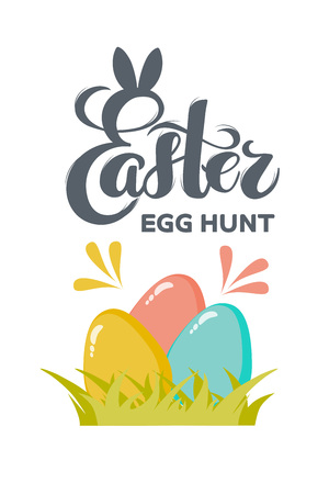 Vector flat Easter eggs with hand drawn text Easter egg hunt for greeting card, holiday poster, banner, invitation, Easter promo, spring event. Holiday Pascha, Resurrection Sunday, eggs hunting party.