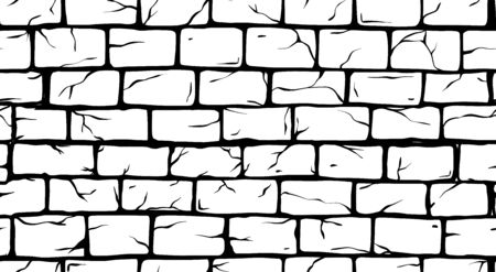 Illustration for Brick White Wall seamless pattern, old rectangle bricks for poster on house facade decoration, exterior, rough vintage interior of room, tool shop, DIY store, garden center or graffiti art. Vector illustration - Royalty Free Image