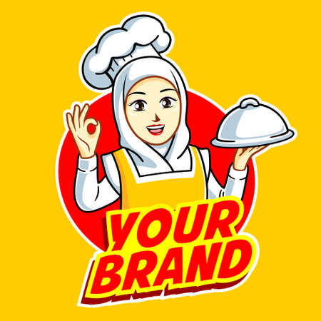 Illustration for Female Chef in action logo - Royalty Free Image