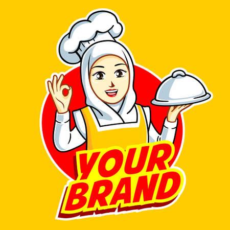 Illustration pour Female Chef in action logo - image libre de droit