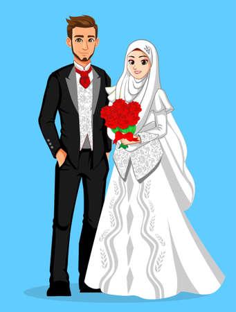 Illustration pour Muslim Internasional Wedding Couple - image libre de droit