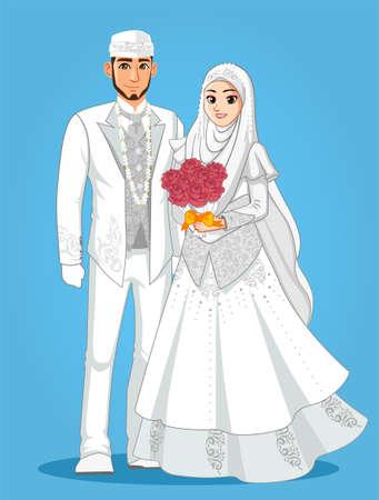 Illustration pour White Muslim Wedding Couple - image libre de droit