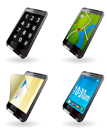 Illustration of 3rd Generation  3G  PDA  icons for phone, GPS navigation, SMS, mail, clock