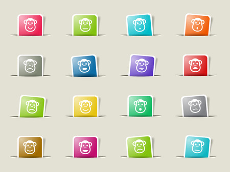 Monkey emotions paper icons for web