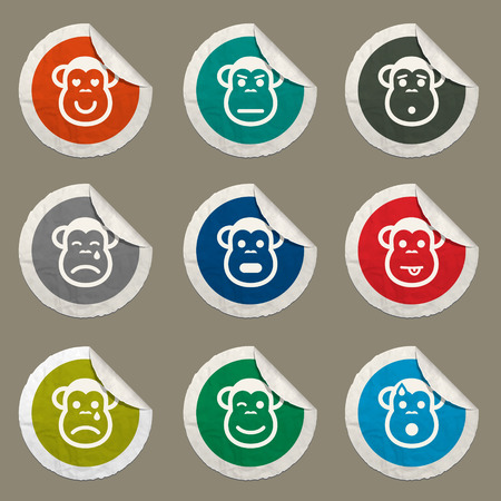Monkey emotions sticker icons for web