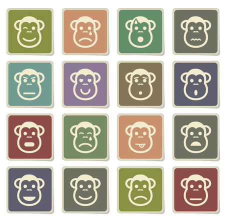 Monkey emotions label icons for web