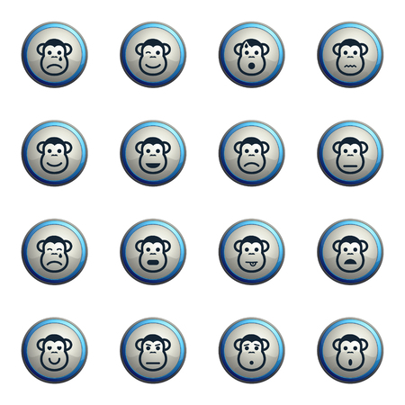Monkey emotions chrome icons for web