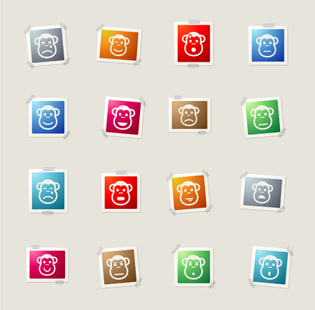 Monkey emotions card icons for web