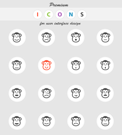 Monkey emotions vector icons for web sites and user interface