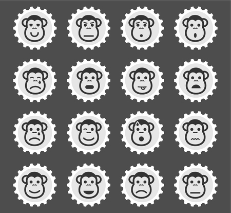 Monkey emotions simply symbol for web icons and user interface