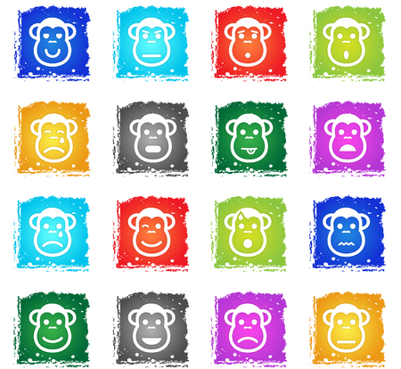 Monkey emotions simply symbol in grunge style for user interface design