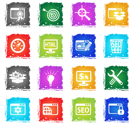 seo and development web icons in grunge style for user interface design