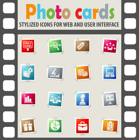 marketing web icons on color photo cards for user interface