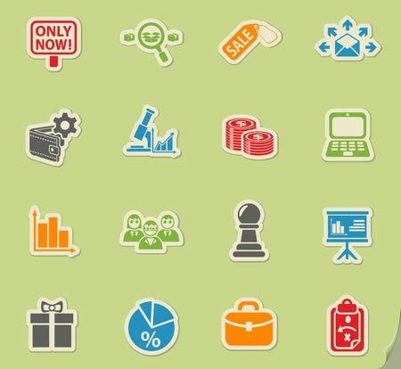 marketing web icons on color paper stickers for user interface