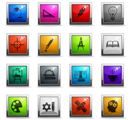 creative process web icons in square colored buttons