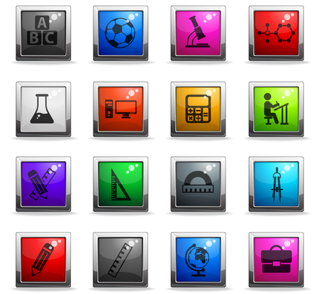 school vector icons in square colored buttons for web and user interface design