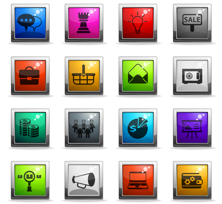 marketing vector icons in square colored buttons for web and user interface design