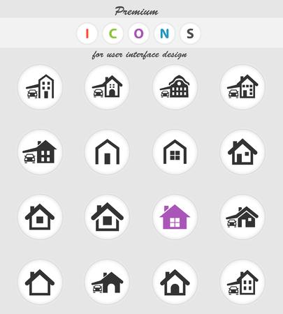 Illustration pour house type vector icons for user interface design - image libre de droit