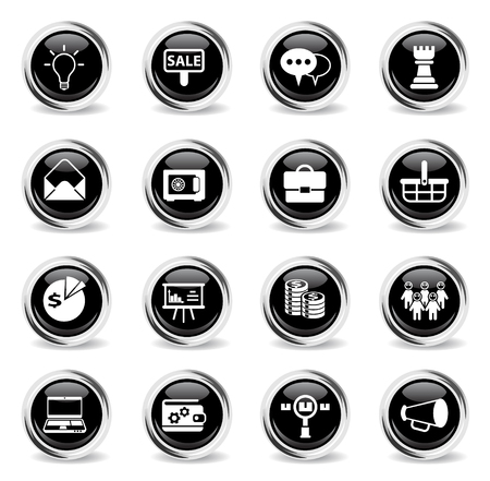 marketing vector icons - black round chrome buttons