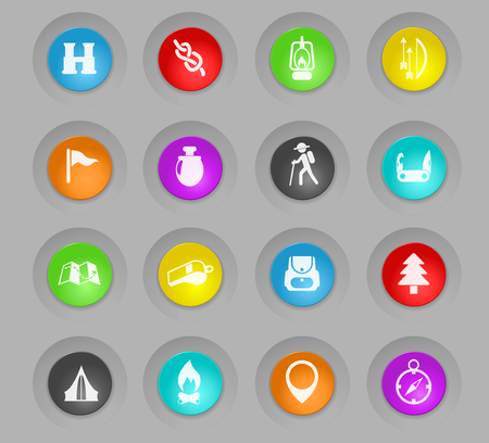 day of scouts colored plastic round buttons vector icons for web and user interface design