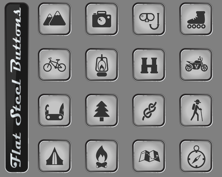 active recreation web icons on the flat steel buttons