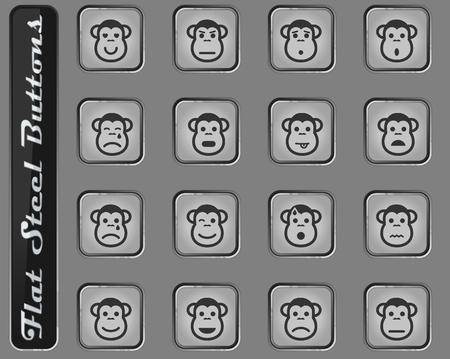 Monkey emotions vector web icons on the flat steel buttons