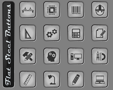 engineering vector web icons on the flat steel buttons