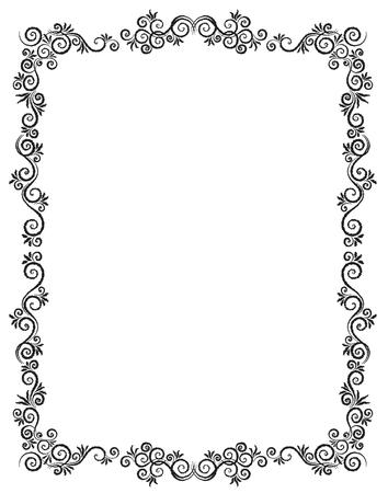Illustration pour Vintage Ornament Greeting Card Vector Template. Charcoal drawing. Flourishes frame. Vintage Background, Vintage Frame, Vintage Ornament, Ornaments Vector, Ornamental Frame. - image libre de droit