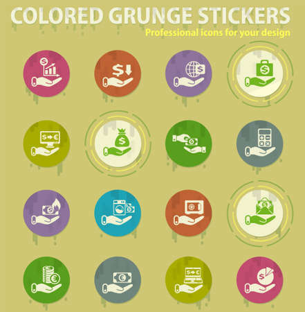 Illustration pour hand and money colored grunge icons with sweats glue for design web and mobile applications - image libre de droit