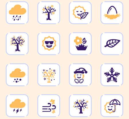Illustration pour Seasons color vector icons for user interface design - image libre de droit