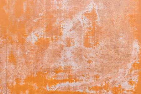 Foto de Peeling orange paint abstract texture from old worn light wood background. - Imagen libre de derechos