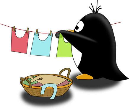 Penguin dry the linen