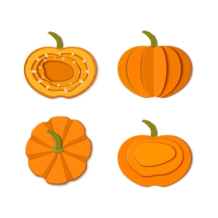 Set of paper cut orange pumpkins. Origami pumpkin whole, a piece, slice, top view Collection design elements for Halloween party, Thanksgiving Day card. Vector illustration. Paper art style