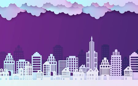 Night City landscape in papercut style. Violet and blue gradient paper cut office, residential buildings and evening cloudy sky for city ecology brochures. Vector card architecture horizontal panorama
