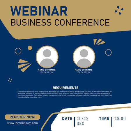 Illustration pour Business Conference. Live webinar invite template. Banner live webinar promotion for social media. Eps 10 - image libre de droit