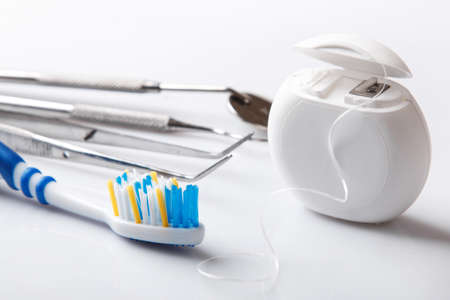Photo pour Set of different tools for dental care - image libre de droit