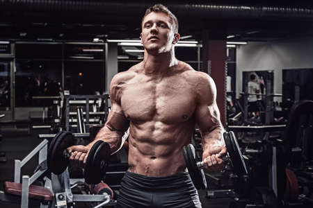 Muscular man with dumbbells in gym