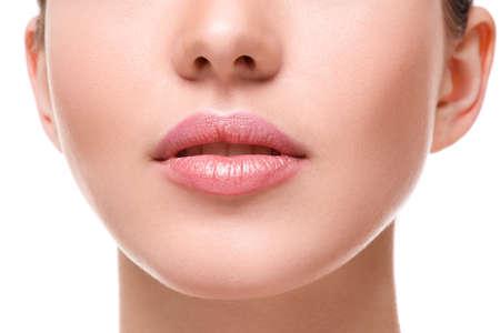 Photo pour Close up of beautiful pink lips - image libre de droit