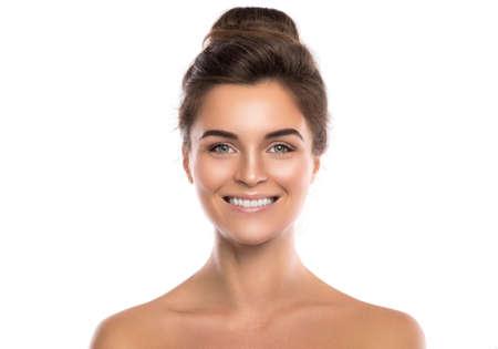 Foto de Portrait of beautiful young woman on white background - Imagen libre de derechos