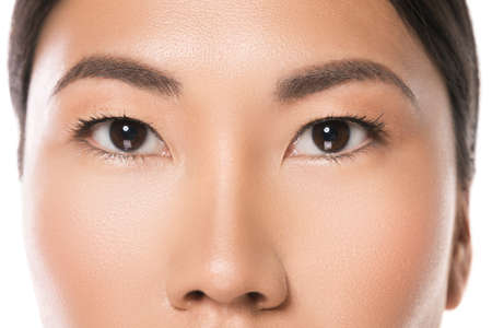 Photo for Close-up of Asian eyes. Eye care and beauty. - Royalty Free Image
