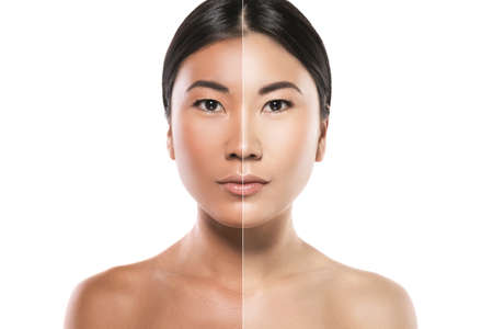 Photo for Asian woman with difference in skin brightness. Concept of facial whitening or sun protection. - Royalty Free Image
