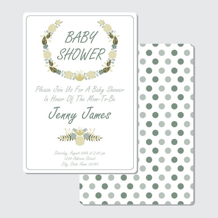 Baby Shower Invitation Card Vector Design Template With